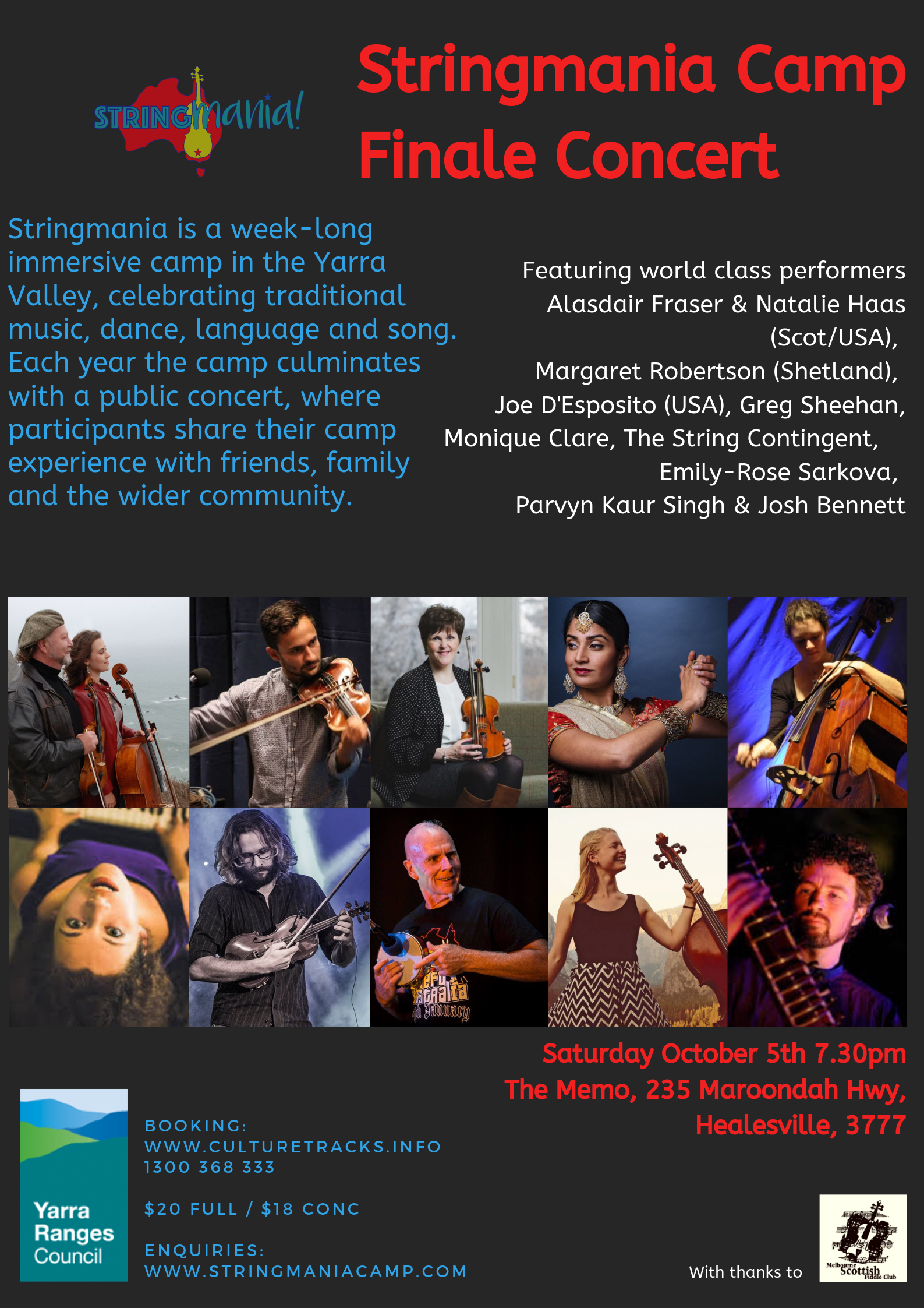 Get your tix for the all-star Stringmania concert in Healesville Oct 5